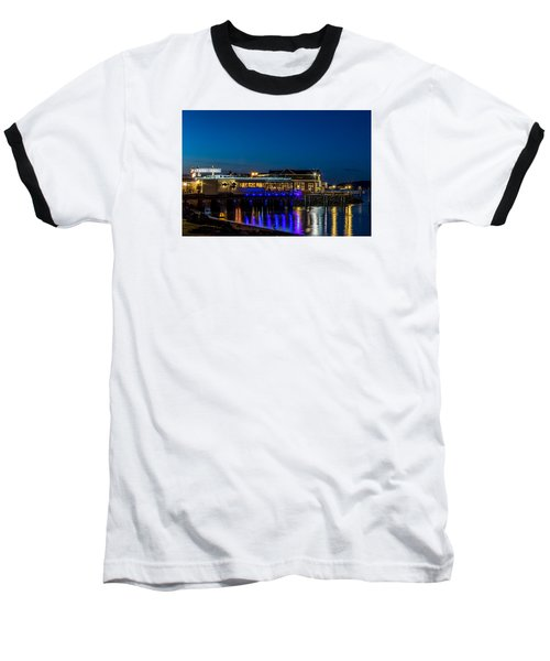 Harbor Lights During Blue Hour Baseball T-Shirt by Rob Green