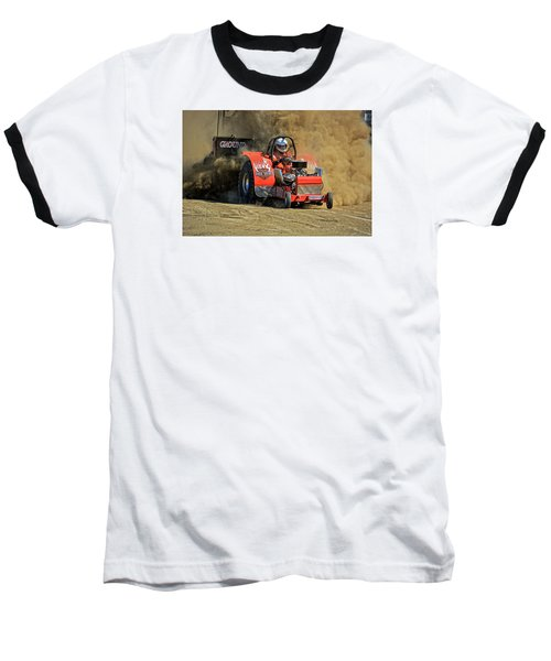 Hard Drive Pulling Tractor Baseball T-Shirt by Mike Martin