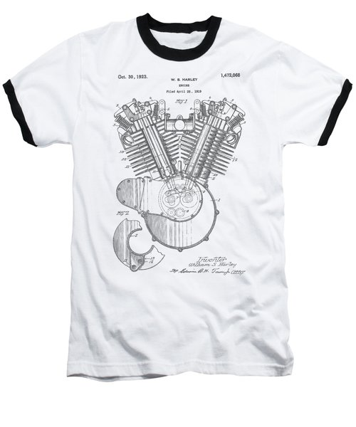 Harley Engine Patent Drawing Baseball T-Shirt