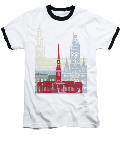 Harvard Skyline Poster Baseball T-Shirt