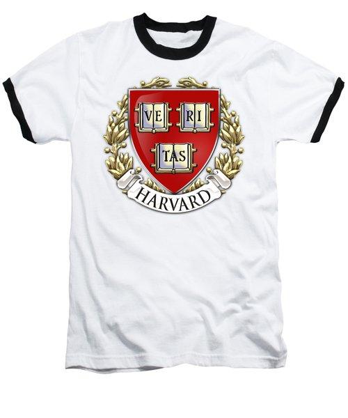 Harvard University Seal - Coat Of Arms Over Colours Baseball T-Shirt by Serge Averbukh