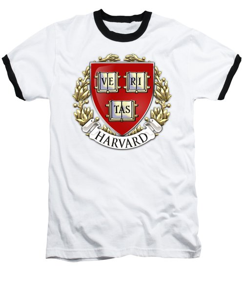Harvard University Seal - Coat Of Arms Over Colours Baseball T-Shirt
