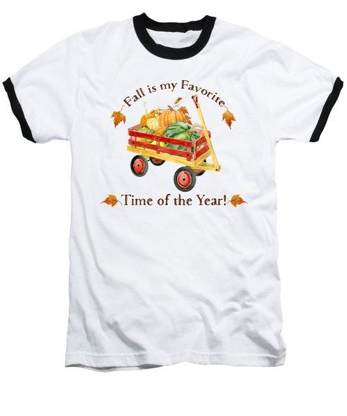 Harvest Red Wagon Pumpkins N Leaves Baseball T-Shirt