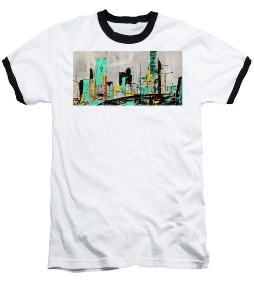 Baseball T-Shirt featuring the painting Hashtag City by Carmen Guedez