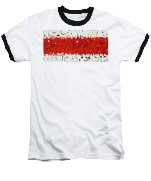 Baseball T-Shirt featuring the painting Hashtag Red - Abstract Art by Carmen Guedez