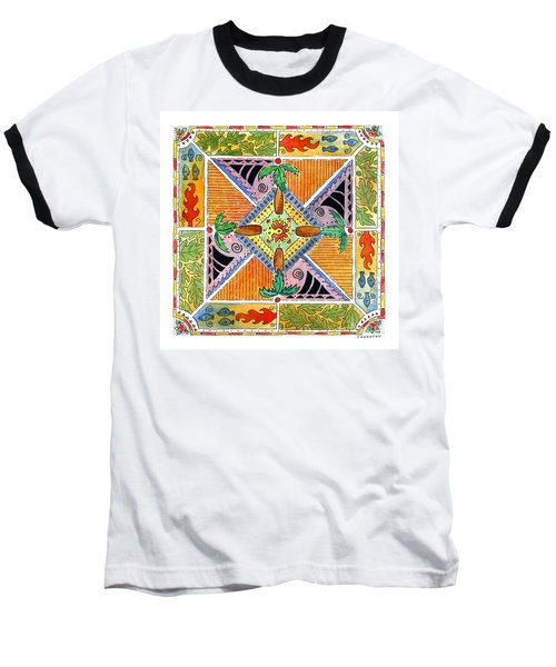 Hawaiian Mandala I - Palm Trees Baseball T-Shirt
