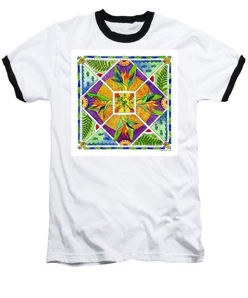 Hawaiian Mandala II - Bird Of Paradise Baseball T-Shirt