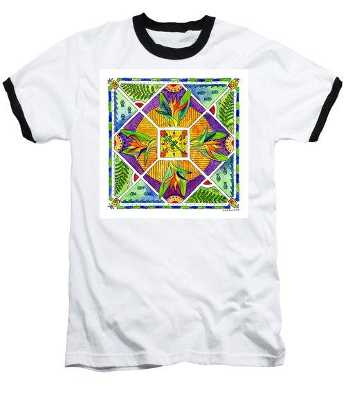 Hawaiian Mandala II - Bird Of Paradise Baseball T-Shirt
