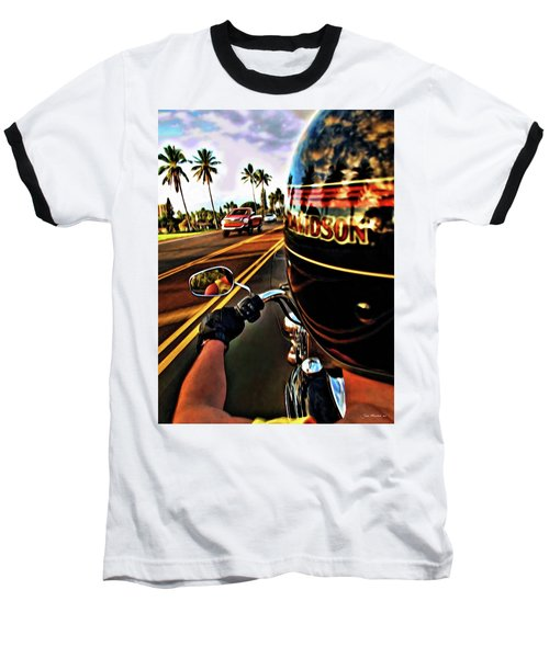 Heading Out On Harley Baseball T-Shirt by Joan  Minchak