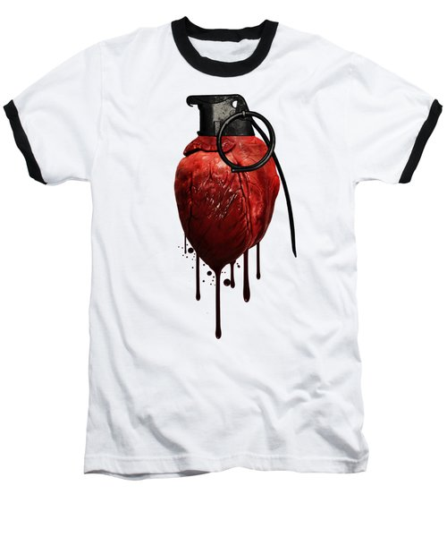 Heart Grenade Baseball T-Shirt by Nicklas Gustafsson