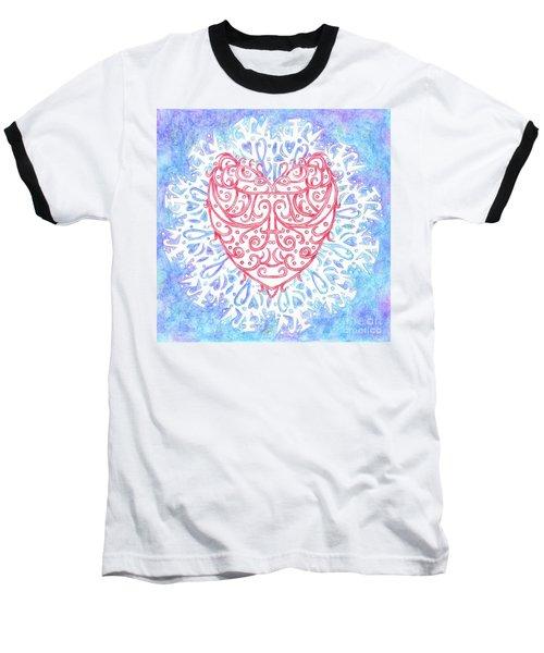 Heart In A Snowflake II Baseball T-Shirt by Lise Winne