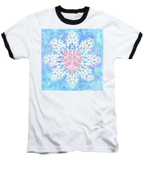 Heart In Snowflake Baseball T-Shirt