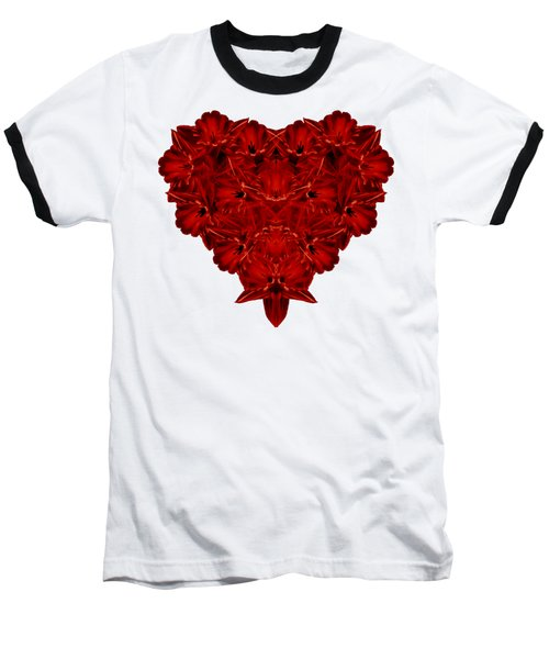 Heart Of Flowers T-shirt Baseball T-Shirt by Edward Fielding