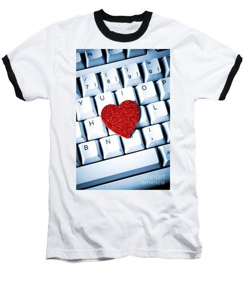 Heart On Keyboard Baseball T-Shirt