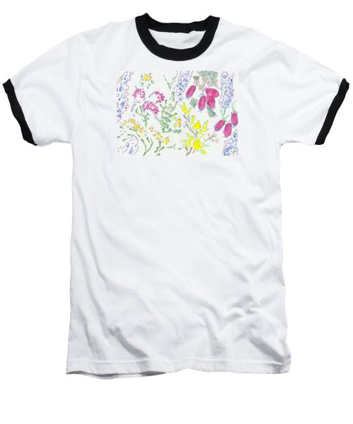 Heather And Gorse Watercolor Illustration Pattern Baseball T-Shirt