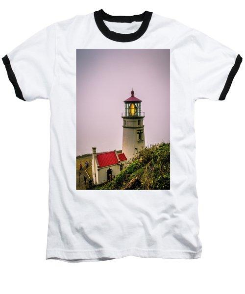 Heceta Head Lighthouse In The Fog Baseball T-Shirt