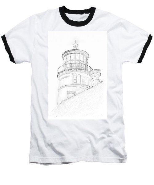 Hecitia Head Lighthouse Sketch Baseball T-Shirt by Jeffrey Jensen
