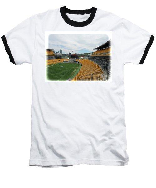 Heinz Stadium With Pittsburgh Skyline Baseball T-Shirt