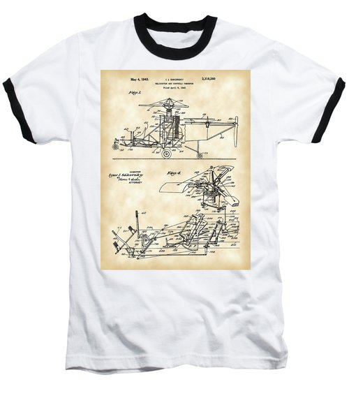 Helicopter Patent 1940 - Vintage Baseball T-Shirt