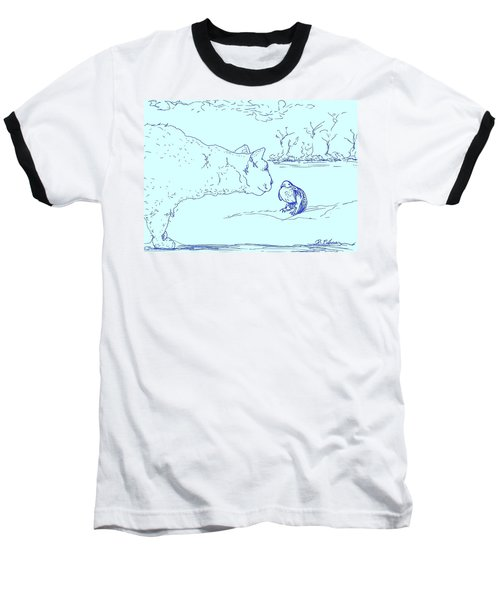 Baseball T-Shirt featuring the drawing Hello Birdie by Denise Fulmer