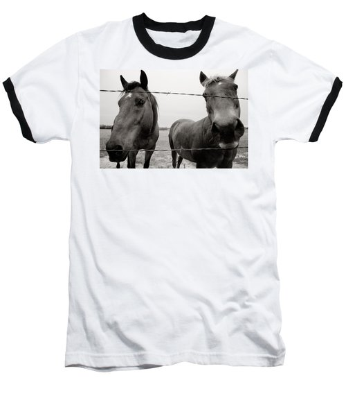 Baseball T-Shirt featuring the photograph Hello Horses by Toni Hopper