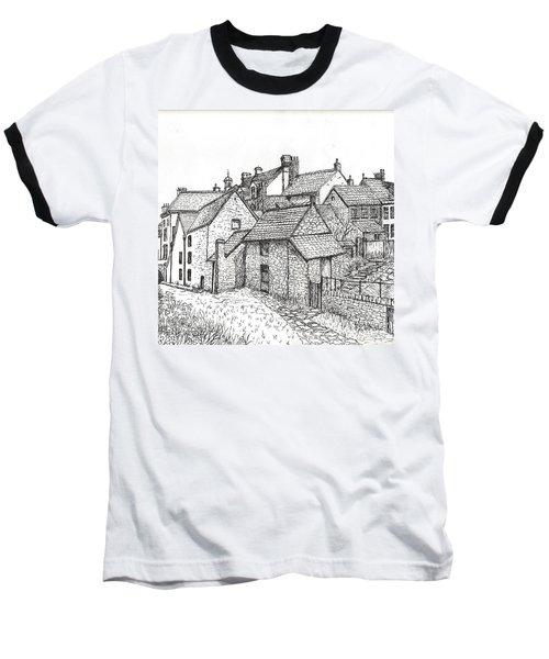 Baseball T-Shirt featuring the drawing Hemsley Village - In Yorkshire England  by Carol Wisniewski