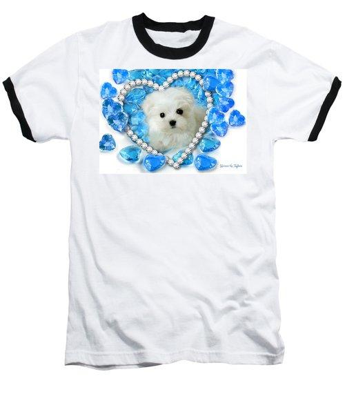 Hermes The Maltese And Blue Hearts Baseball T-Shirt