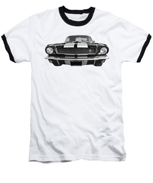 Baseball T-Shirt featuring the photograph Hertz Rent A Racer Mustang 1966 Black And White by Gill Billington
