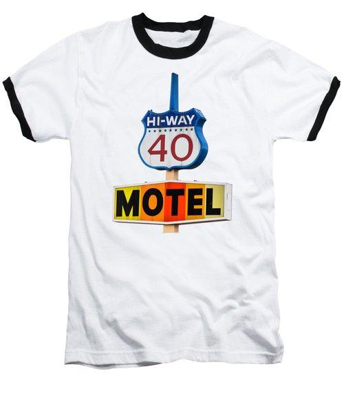 Hi-way 40 Motel Baseball T-Shirt by Rick Mosher