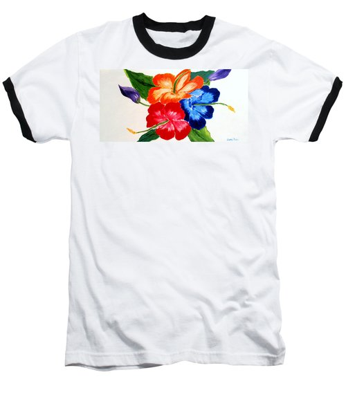 Hibiscus Baseball T-Shirt by Jamie Frier