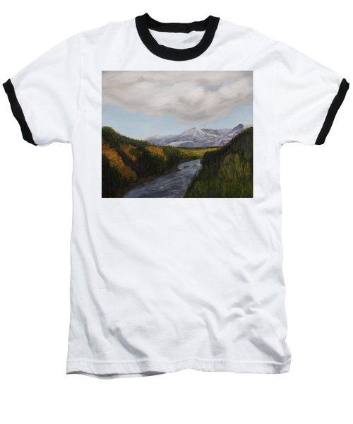 Hidden Mountains Baseball T-Shirt by Alan Mager