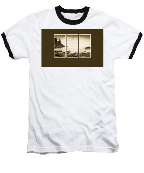 High Rock Triptych Baseball T-Shirt by Martina Fagan