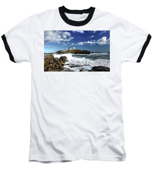 High Surf At Nubble Light Baseball T-Shirt