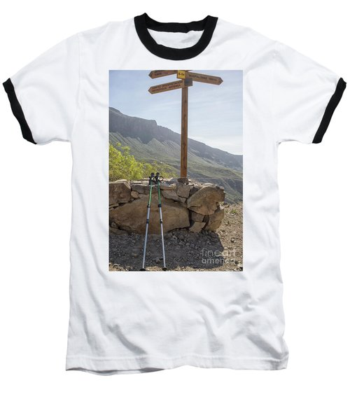 Hiking Poles Resting Near Sign Baseball T-Shirt by Patricia Hofmeester