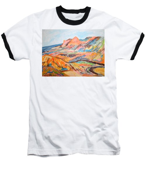 Hills Flowing Down To The Beach Baseball T-Shirt by Esther Newman-Cohen