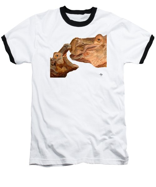 Hippos Baseball T-Shirt by Angeles M Pomata