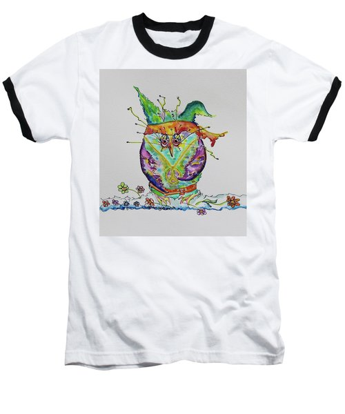 Hippy Owl- Vertical Format Baseball T-Shirt