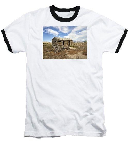 Historic Cabin And Buckboard Wheels In Big Horn County In Wyoming Baseball T-Shirt by Carol M Highsmith