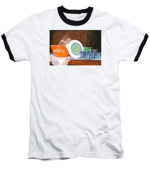 Baseball T-Shirt featuring the painting History Of Pyrex by Lynne Reichhart