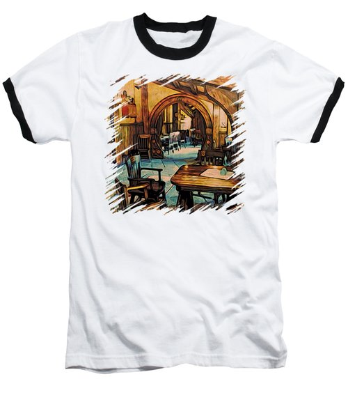 Baseball T-Shirt featuring the digital art Hobbit Writing Nook T-shirt by Kathy Kelly