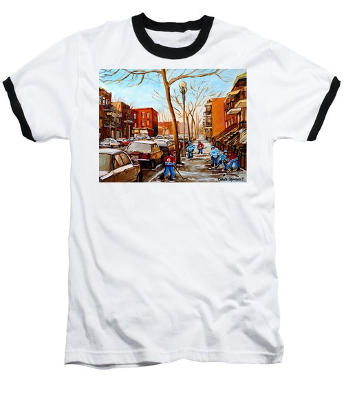 Baseball T-Shirt featuring the painting Hockey On St Urbain Street by Carole Spandau
