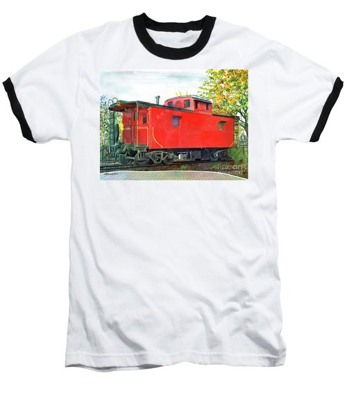 Holland Michigan Caboose Baseball T-Shirt by LeAnne Sowa