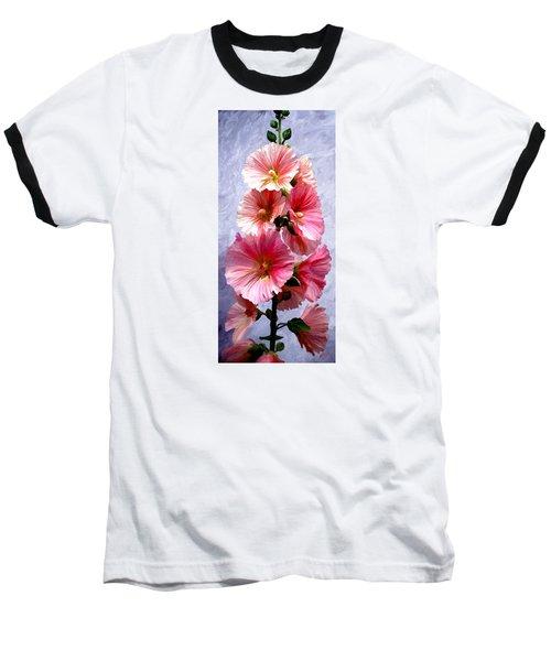 Hollyhocks Baseball T-Shirt by James Shepherd