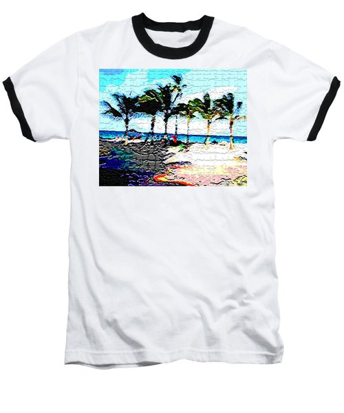 Hollywood Beach Fla Digital Baseball T-Shirt by Dick Sauer