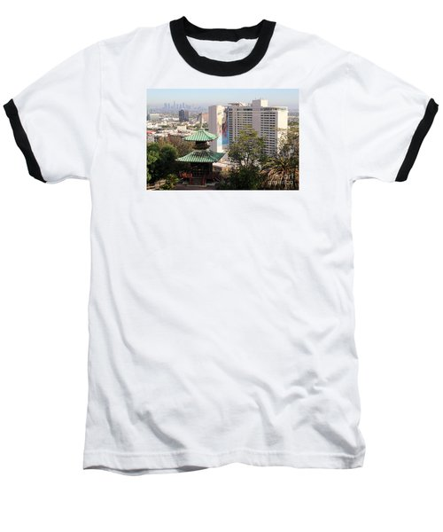 Hollywood View From Japanese Gardens Baseball T-Shirt by Cheryl Del Toro