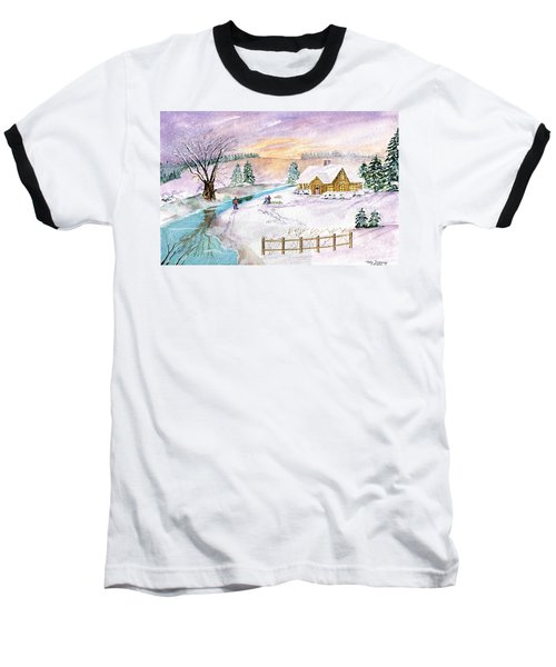 Baseball T-Shirt featuring the painting Home For Christmas by Melly Terpening