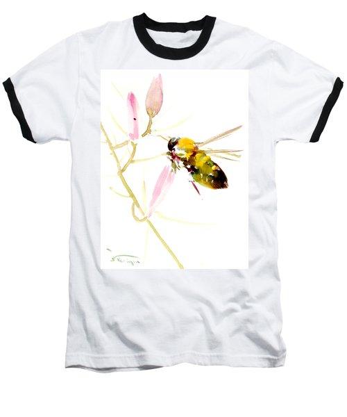 Honey Bee And Pink Flower Baseball T-Shirt