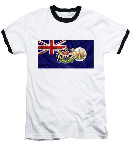 Hong Kong - 1959-1997 Historical Coat Of Arms Over British Hong Kong Flag  Baseball T-Shirt