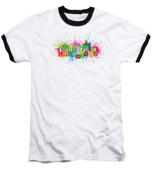 Hong Kong Skyline Paint Splatter Text Illustration Baseball T-Shirt