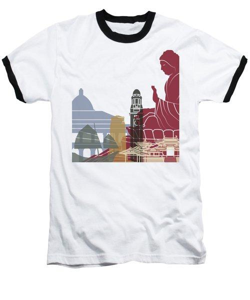 Hong Kong Skyline Poster Baseball T-Shirt by Pablo Romero